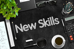 New Skills Concept on Black Chalkboard. 3D Rendering. Stock Photography