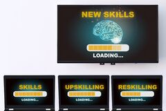 Free New Skills Loading With Brain Modern Technology Machine Learning On Wide Screen Smart TV Digital Hanging On White Wall Royalty Free Stock Photography - 214794737