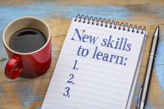 New skills to learn list in notebook Stock Images