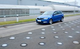 New Skoda Fabia on the test circuit Royalty Free Stock Photos