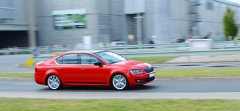 New Skoda Octavia on the test circuit Royalty Free Stock Photo