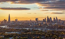 The new skyline of London, United Kingdom. During sunset, from the city to the Tower Bridge stock photos