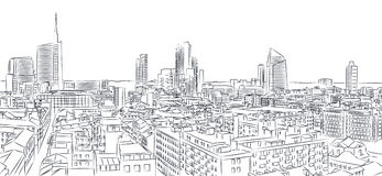 New skyline of Milan, freehand drawing. Royalty Free Stock Photo