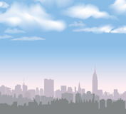 new skyline york Διανυσματικό ΑΜΕΡΙΚΑΝΙΚΟ τοπίο Εικονική παράσταση πόλης στα ξημερώματα Στοκ Φωτογραφία