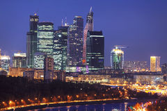 New skyscrapers business center in Moscow at night, Stock Photography