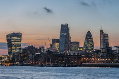 New skyscrapers of the City of London at sunset 2014 Royalty Free Stock Photo