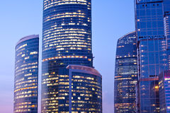 New skyscrapers at evening Stock Photo