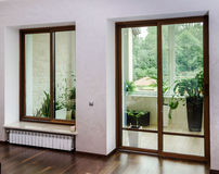 New sliding fiberglass doors for terrace Stock Image