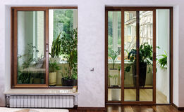 New sliding fiberglass doors for terrace Stock Photos
