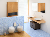 New small bathroom. Small modern bathroom including wardrobe, basins and toilet Stock Photography