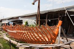 A new small boat under construction royalty free stock photography