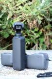 New Small DJI Osmo Pocket Camera. Roquebrune-Cap-Martin, France - February 18, 2019: Close Up View New Small DJI Osmo Pocket Gimbal Camera, The Smallest 3-Axis royalty free stock photos