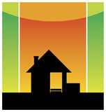 New small house 2. Composition with a silhouette of the small house. It costs on a road roadside. Behind it the red sky is located royalty free illustration