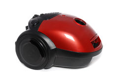 New small red vacuum cleaner isolated. On the white Stock Image