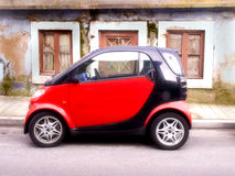New Smart Car on Red and Black Color Royalty Free Stock Image