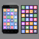 New smartphone with app icons. New smartphone with icons on screen Royalty Free Stock Photography