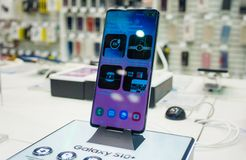 New smartphone. February 28, 2019 Moscow, Russia. The new smartphone from Samsung Galaxy s10+ on the shelf in the gadget store royalty free stock photos
