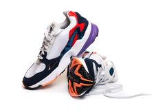 New sneakers  on white background royalty free stock images