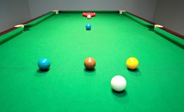 New snooker table with balls ready for break Stock Photography