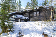 New snow at the cabin. The cabin is locaded on the mountain in Trysil municipality locaded in Hedemark county in Norway. During the night it fell about 5 cm snow Stock Photography