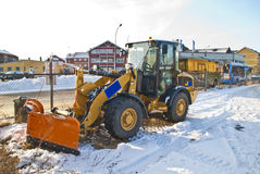 New snow plow. New snow plow on the site of Halden railway station Stock Image