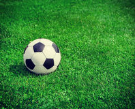 New soccer ball on green grass. Copyspace Stock Image