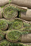 New Sod. Rolls of new sod wait to be laid in place royalty free stock images