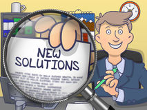 New Solutions through Magnifier. Doodle Design. Stock Images