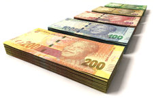 New South African Rand Notes. An assortment of all new south african notes in stacks depicting nelson mandela on an isolated background Royalty Free Stock Photos