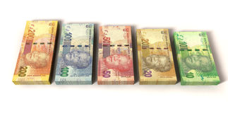 New South African Rand Notes. An assortment of all new south african notes in stacks depicting nelson mandela on an isolated background Stock Photos
