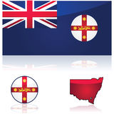 New South Wales flag and map Stock Photography