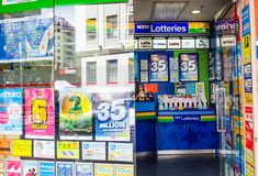 New South wales Lotto tickets sell at newsagent shop in Sydney downtown. SYDNEY, AUSTRALIA. – On January 3, 2018. - New South wales Lotto tickets sell at stock image