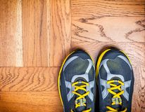 Sport shoes on the floor. New sport shoes on the floor royalty free stock images