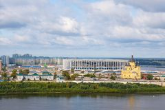 Nizhny Novgorod, Russia - September 10, 2017. View of the new stadium and Alexander Nevsky Cathedral. Royalty Free Stock Photography