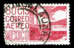 New sports center at the University City, Mexico City, Local Images serie, circa 1952. MOSCOW, RUSSIA - MAY 15, 2018: A stamp printed in Mexico shows New sports royalty free stock photography