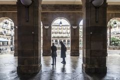 New square, Plaza Nueva or Plaza Barria, monumental square, neoc. Lassical style.Bilbao. Spain Stock Photos