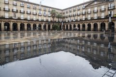 New square, Plaza Nueva or Plaza Barria, monumental square, neoc. Lassical style.Bilbao. Spain Royalty Free Stock Photography
