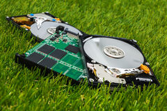 New SSD between two old HDD Stock Photography