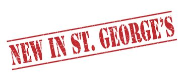 New in st. Georges  stamp. New in st. Georges  red stamp isolated on white background Stock Images