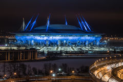 He new stadium. Saint-Petersburg, Russia - December 29, 2017: The new stadium `Zenith Arena`, where the World Cup will be held in 2018. Night view from above Stock Image