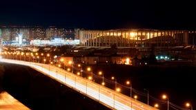 NIZHNY NOVGOROD. RUSSIA - September 2017. Night view of the new stadium and the Canavinsky Bridge. Stock Photos