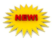 New in starburst. The word new in red type i a yellow starburst Stock Photos