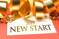 New Start 2019 with deroration royalty free stock photo
