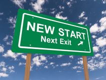 New start next exit sign. With arrow, blue sky and cloudscape background stock photos