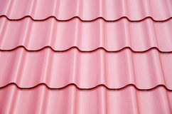 New steel sheets on metal roof. Closeup stock images