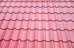 New steel sheets  on metal roof Stock Photo