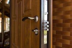 New steel three bolt door lock Stock Photography