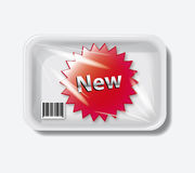 New sticker in plastic container. eps10  bac Royalty Free Stock Photo