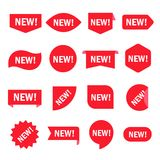 New sticker set. Red promotion labels for new arrivals shop section. Vector flat style cartoon illustration isolated on white background Stock Image