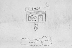 New store launch, little shop flying like a rocket Stock Image